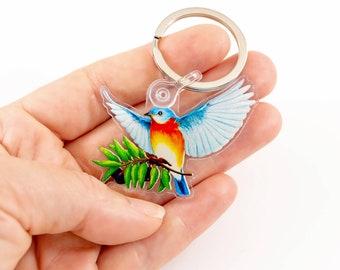 """Eastern Bluebird Keychain Bluebird of Happiness & Peace Zipper Charm Keyring, Original Art Gift for Audubon Bird Lovers, 2"""" x 1.55"""" Charm"""