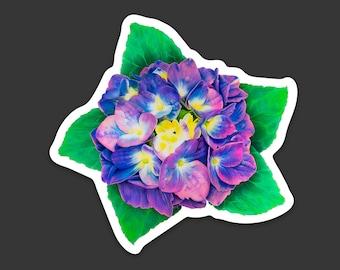 Hydrangea Flower Sticker Decal, Original Art Sticker Purple Hydrangea on White Vinyl Decal, Gift for Flower Lovers
