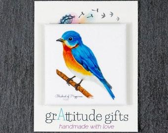 Bluebird of Happiness Magnet 1.5 x 1.5 Square, Original Art Magnet Blue Bird on Soft Matte Paper, Eco-Friendly Gift for Bird Lovers