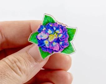 "Hydrangea Flower Lapel Pin, Original Art Pin Purple Hydrangea on Acrylic Charm, Gift for Flower Lovers 1.25"" x 1.21"""