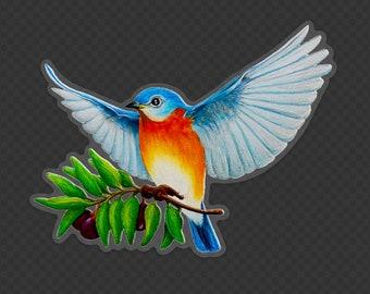 """Bluebird of Happiness Sticker Decal 5"""" x 3.85"""", Original Art Sticker BlueBird on Clear Vinyl Decal, Gift for Bird Lovers"""