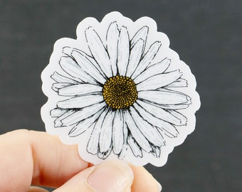 """Daisy Sticker Decal, Original Art Sticker Happy White Daisy on *Clear Vinyl* Decal, Gift for Flower Lovers 2"""" x 1.95"""""""