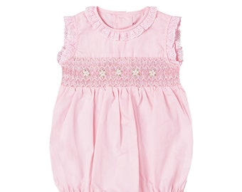Girls Pink and Aqua Floral Bubble Romper with Crochet Trim and Ruffle Collar