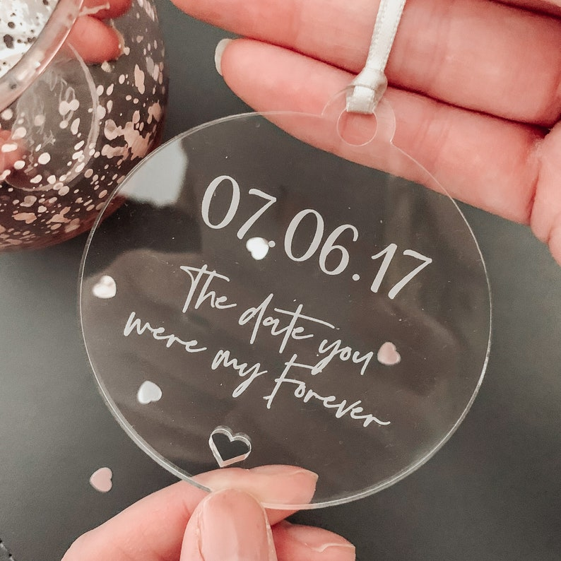 Engagement Personalised /'The Date You Were Mine Forever/' Hanging Tag Newly Weds Engraved Keepsake Decoration Wedding Anniversary