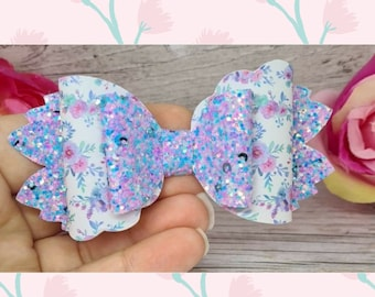 4 inch Plastic Hair bow template scalloped leaf tails