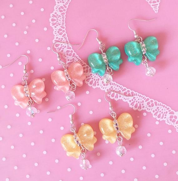 Cute Pastel Pink Kawaii Bow Earrings