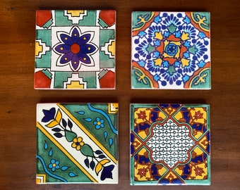 Set of 4 Spanish or Mexican Tile Coasters Grab Bag