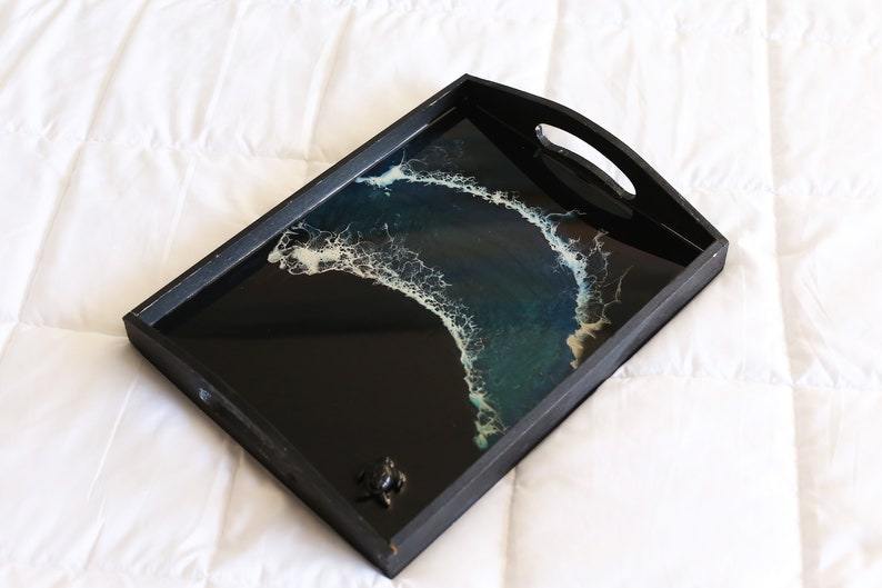 ottoman tray coffe table tray Black large tray tea accessories serving tray wood serving tray