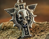 Pendant Insignia of Inquisitor inspired by Warhammer 40k universe - Special Powers Pendant with Skull - GrimDark cosplay - Hand-made Pendant