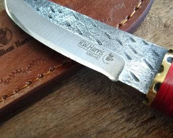 Hand Forged Full Tang Pink Bone Handled  1095 HC  Steel Skinner