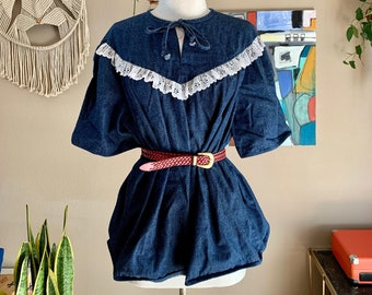 80s vintage denim Prairie western blouse with lace trim