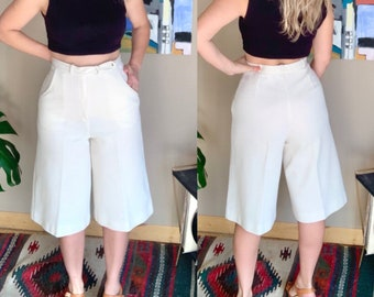 Wide-leg trousers 80s vintage high-waisted pastel culottes 80/'s vntg yellow palazzo pants
