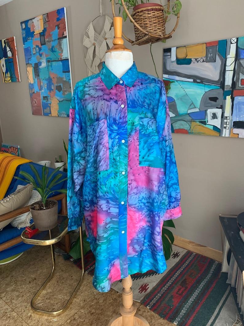 90s vintage tie dye pastel oversized button front blouse