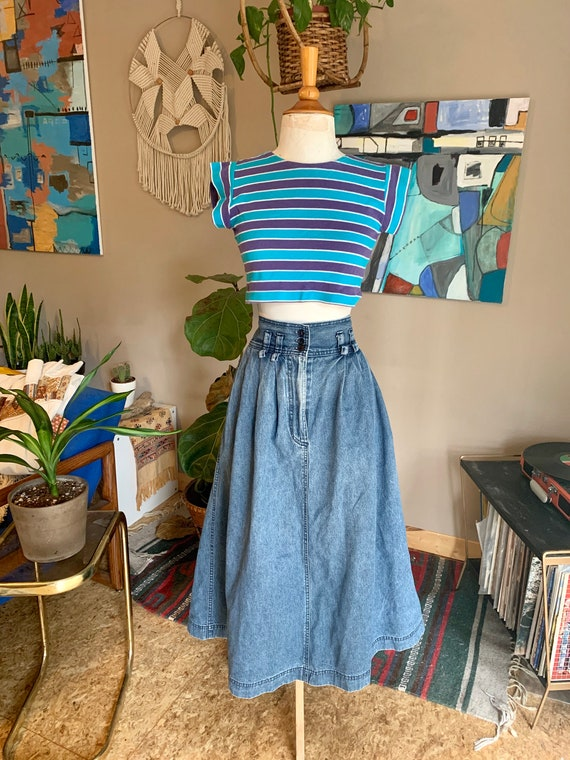 80s vintage denim high waist maxi skirt