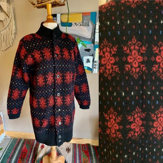 80s vintage nordic wool mock neck sweater coat