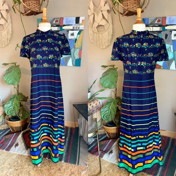 60s-70s Vintage midcentury handmade maxi dress  mo