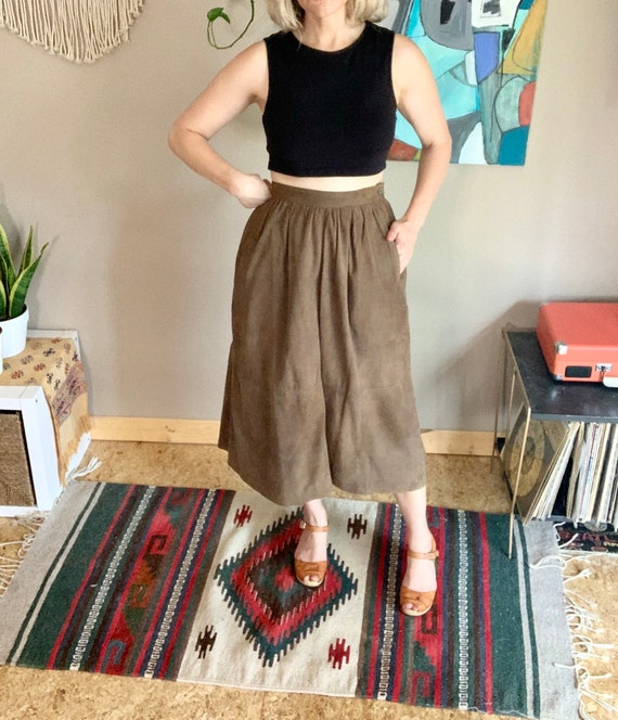Vintage brown suede leather pleated midi skirt boh