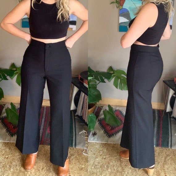 70s-80s Levi's black high waist cropped flare poly