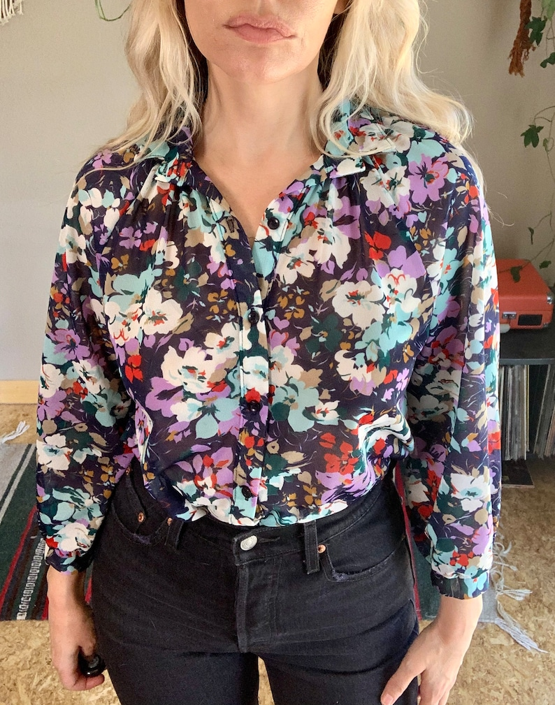 80s vintage slightly sheer floral button front blouse boho hippie chic