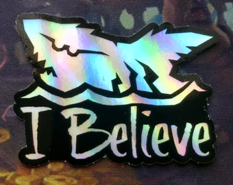 """Rainbow """"I Believe"""" White Megalodon Vinyl Decal - Sea of Thieves inspired"""