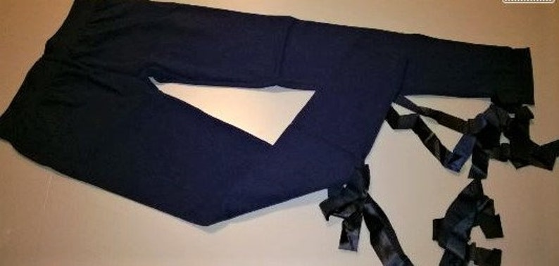 LAST COLOR AVAILABLE! Made In Italy Blue cotton modal woman Leggings with Satin Elastic Ribbon on the legs