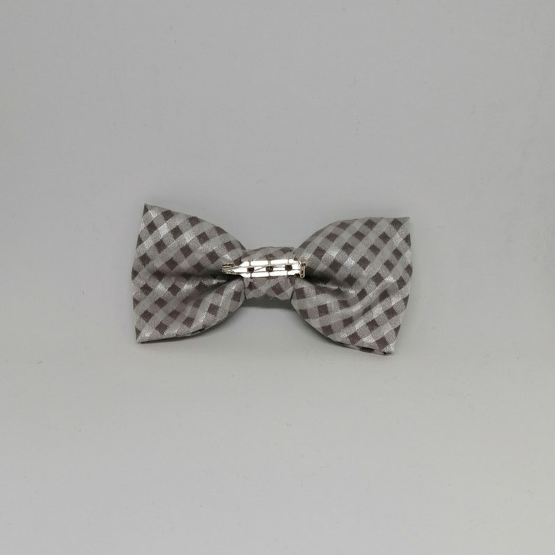 bow ties for Boy Man or Dad and Son set Apply it with a pin on the back! Satin fabric with grey and white fancy Handmade Papillon