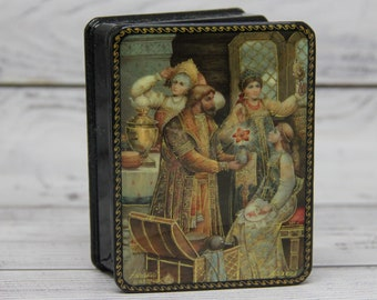 Fedoskino Art Painting School Russian Lacquer Box Jewelry Box Gift Box Fairy Tale Home decor Handmade