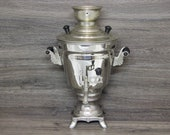 Vintage Russian Electric Samovar Rare USSR Metal Teapot Original Soviet Samovar Electric Metal Teapot Kitchen Decor