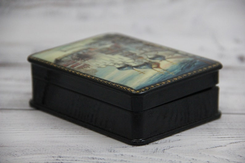 Russian Lacquer Box Gift Box Church Jewelry Box Home Decor Handmade Fedoskino Art Painting School