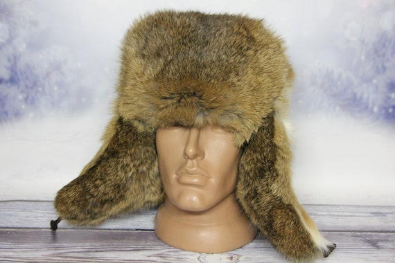 Winter Rabbit Fur Hat, Natural Ushanka Hat, Russian Winter Fur Hat, Rabbit Light Brown Color