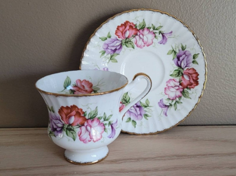 pink and lavender flowers scalloped gold edge Paragon Tea Cup and Saucer red
