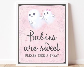 Babies are Sweet Sign Little Boo Baby Shower, Halloween Favors Sign Baby Shower, Halloween Baby Shower Decoration, Pink Little Boo, BBS268