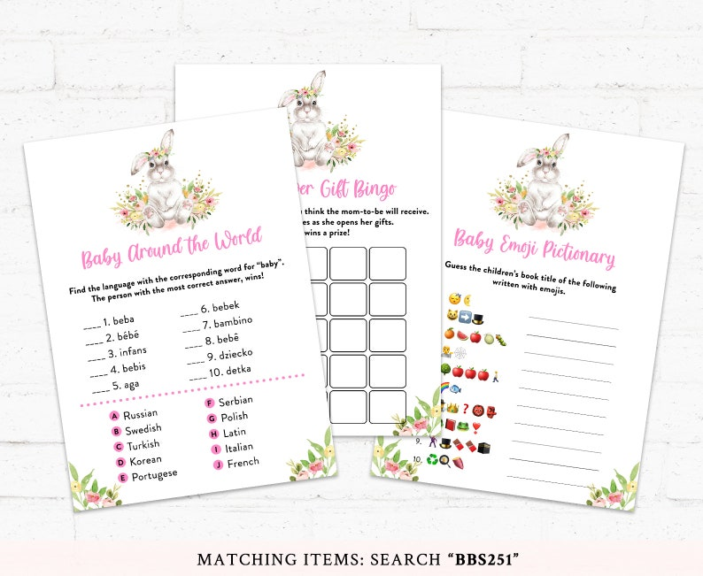 Floral Bunny Baby Shower Girl Baby Shower BBS251 Rabbit Baby Shower Activities Bunny Baby Shower Game Bundle Bunny Baby Shower Games