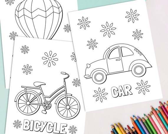 Vehicle Coloring Pages For Kids Transportation Coloring Book Etsy