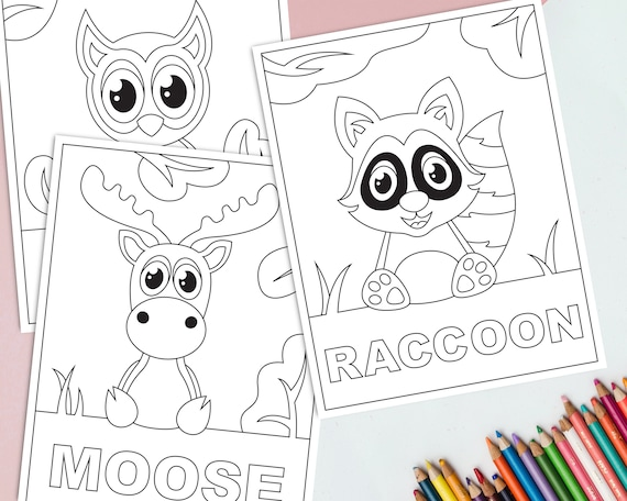 Printable Woodland Animals Coloring Pages for Kids Forest