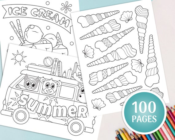 100 Summer Coloring Pages For Kids Printable Coloring Book Etsy