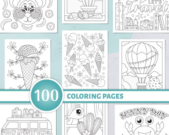 100 Summer Coloring Pages Coloring Bundle for Adults and