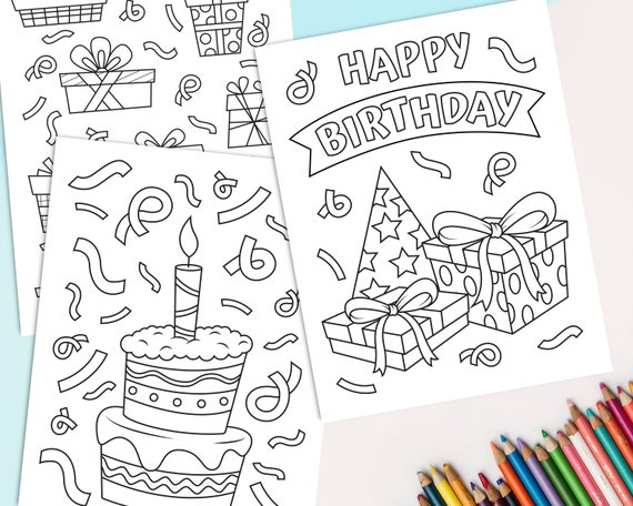 Birthday Coloring Pages for kids Set of 8 Happy Birthday