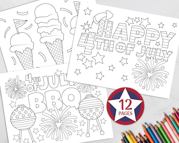 Printable 4th Of July Coloring Pages For Kids Independence Etsy