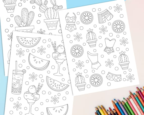 Summer doodle coloring pages set of 8 Printable Summer