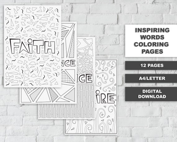 Inspiring Words Printable Coloring Pages Printable Coloring Etsy