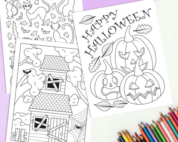 Halloween Coloring Pages For Kids Printable Fall Coloring Etsy