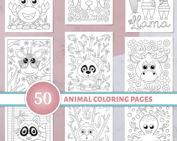 Animal Coloring Pages for Kids 50 Printable Animal Coloring