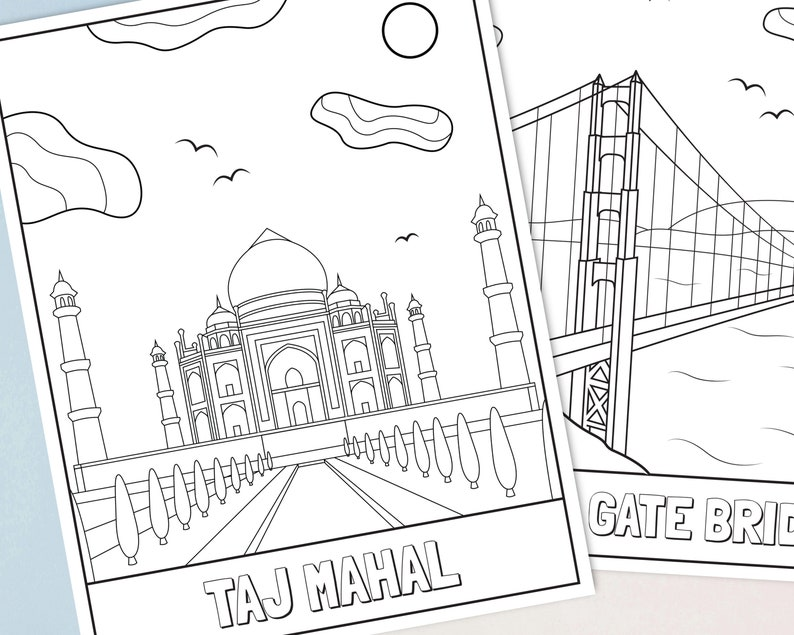 Landmarks Coloring Pages for Kids with Stickers Printable ...