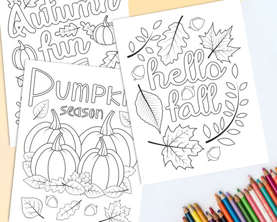 Autumn Coloring Pages For Kids Printable Fall Coloring Etsy