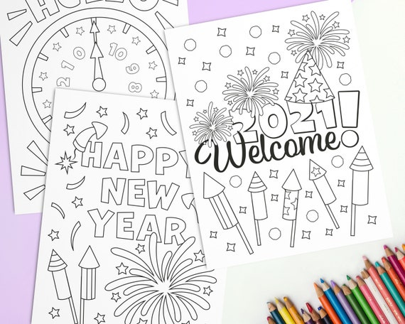 New Year Coloring Pages for Kids Printable Winter Coloring