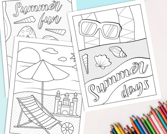 Printable beach coloring pages for kids pack of 3 Printable