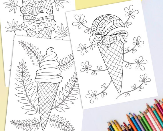 Printable Ice Cream Coloring Pages For Adults Pack Of 3 Etsy