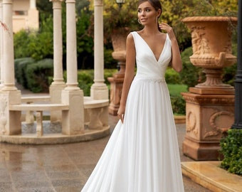 Plain Wedding Dress Etsy