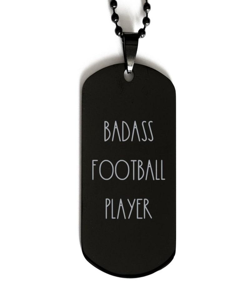 Badass Football Player Necklace Football Player Necklace Gift For Football Player Black Dog Tag Necklace, Necklace For Football Player